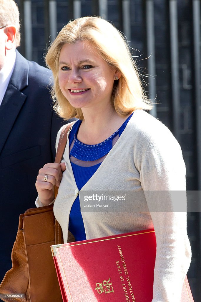 <a gi-track='captionPersonalityLinkClicked' href=/galleries/search?phrase=Justine+Greening&family=editorial&specificpeople=2466449 ng-click='$event.stopPropagation()'>Justine Greening</a>, International development secretary attends the first Conservative Cabinet meeting of The new Government, at 10 Downing Street, on May 12, 2015 in London, England.