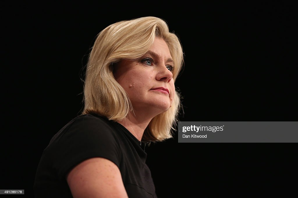 Justine Greening, International development secretary speaks during day one of the Conservative Party Conference on October 4, 2015 in Manchester, England. Up to 80,000 people are expected to attend a demonstration today organised by the TUC and anti-austerity protesters. Conservative Party members are gathering for their first conference as a party in a majority government since 1996.