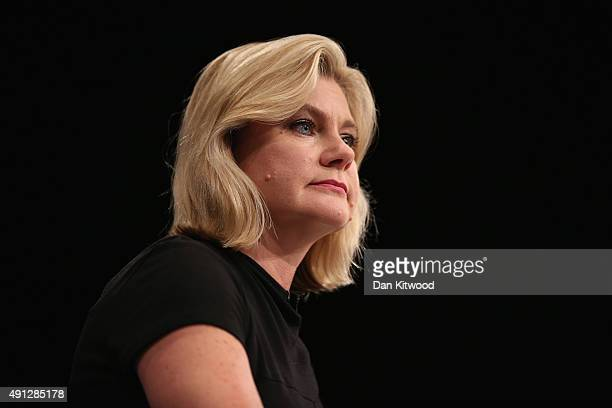 Justine Greening International development secretary speaks during day one of the Conservative Party Conference on October 4 2015 in Manchester...