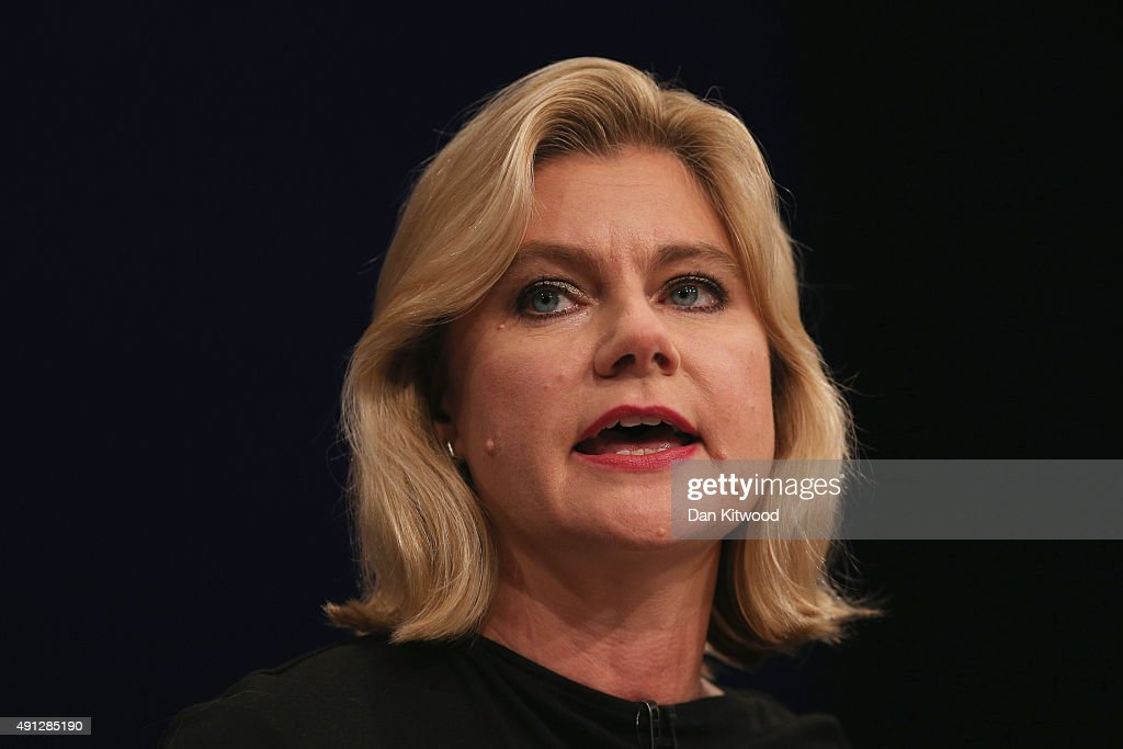 <a gi-track='captionPersonalityLinkClicked' href=/galleries/search?phrase=Justine+Greening&family=editorial&specificpeople=2466449 ng-click='$event.stopPropagation()'>Justine Greening</a>, International development secretary speaks during day one of the Conservative Party Conference on October 4, 2015 in Manchester, England. Up to 80,000 people are expected to attend a demonstration today organised by the TUC and anti-austerity protesters. Conservative Party members are gathering for their first conference as a party in a majority government since 1996.
