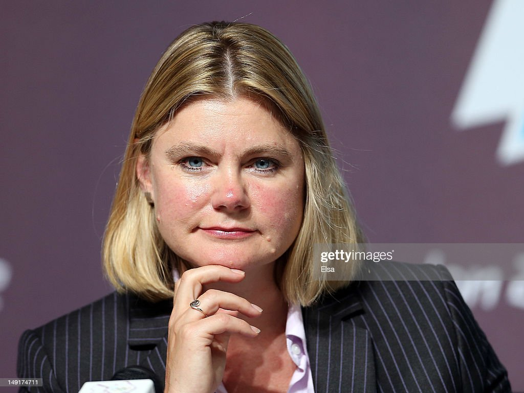 <a gi-track='captionPersonalityLinkClicked' href=/galleries/search?phrase=Justine+Greening&family=editorial&specificpeople=2466449 ng-click='$event.stopPropagation()'>Justine Greening</a> of the LOCOG answers questions during a press conference at the Main Press Center on July 24, 2012 in London, England.