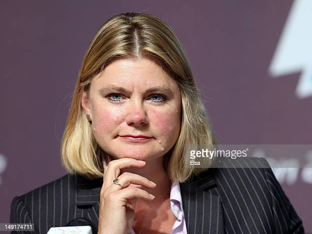 Justine Greening of the LOCOG answers questions during a press conference at the Main Press Center on July 24 2012 in London England