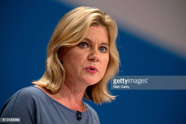 Justine Greening Secretary of State for Education delivers a speech on the third day of the Conservative Party Conference 2016 at the ICC Birmingham...