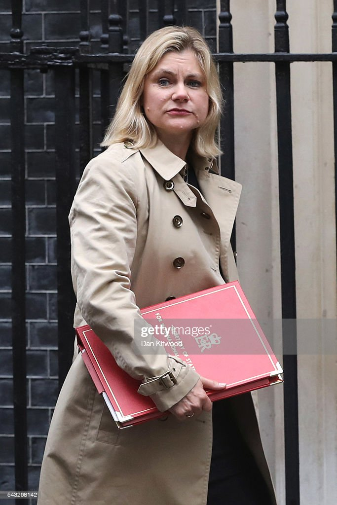 <a gi-track='captionPersonalityLinkClicked' href=/galleries/search?phrase=Justine+Greening&family=editorial&specificpeople=2466449 ng-click='$event.stopPropagation()'>Justine Greening</a>, Secretary of State for International Development arrives for a cabinet meeting at Downing Street on June 27, 2016 in London, England. British Prime Minister David Cameron is due to chair an emergency Cabinet meeting this morning, after Britain voted to leave the European Union. Chancellor George Osborne spoke at a press conference ahead of the start of financial trading and outlining how the Government will 'protect the national interest' after the UK voted to leave the EU.