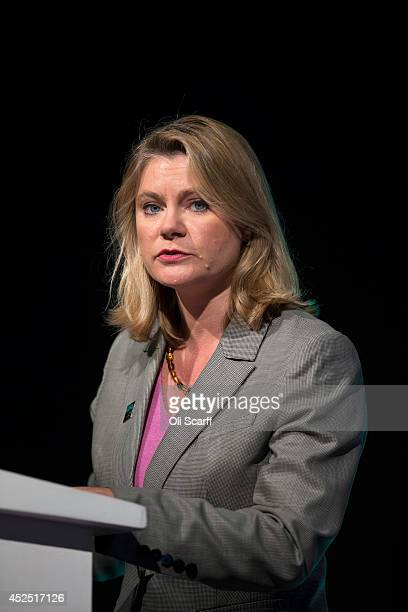 Justine Greening the Secretary of State for International Development speaks at the 'Girl Summit 2014' in Walworth Academy on July 22 2014 in London...