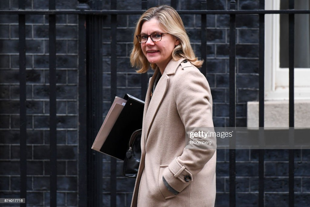 Justine Greening, U.K. education secretary, leaves following a cabinet meeting at number 10 Downing Street in London, U.K., on Tuesday, Nov. 14, 2017. Analysts are more optimistic than the U.K. government that an agreement will be reached with the European Union next month to move Brexit talks on to trade even asTheresa Mays political troubles continue to weigh on the countrys beleaguered currency. Photographer: Chris J. Ratcliffe/Bloomberg via Getty Images