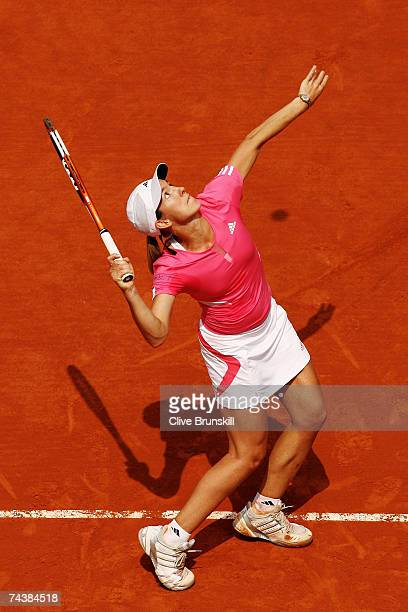 Justine Henin of Belgium in action against Sybille Bammer of Austria during the Women's Singles 4th round match on day eight of the French Open at...