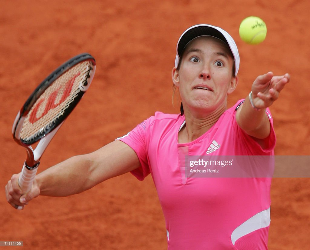 Justine Henin of Belgium in action against Tatjana Malek of Germany during day three of the Women's Qatar Telecom German Open at the Rot Weiss Berlin...