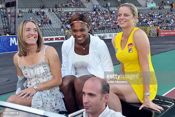 Justine Henin Serena Williams and Kim Clijsters arrive at King Baudouin Stadium on July 8 2010 in Brussels Belgium A world record audience for a...