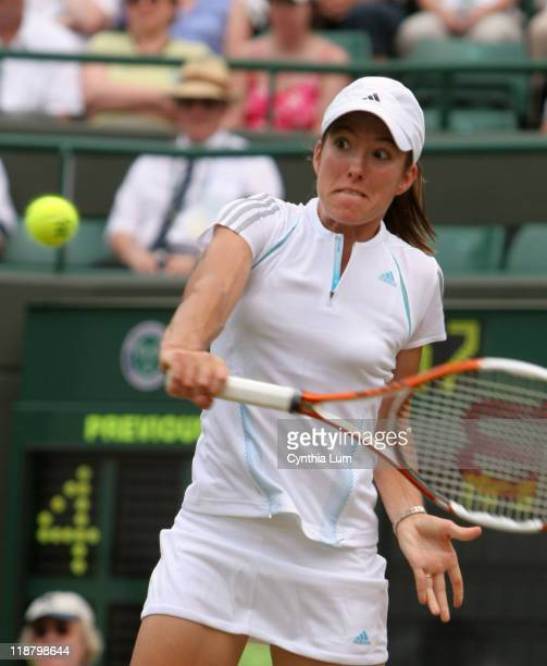 Justine HeninHardenne of Belgium defeating Severine Bremond of France 64 64 in the quarterfinal of the Wimbledon Championships at the All England...