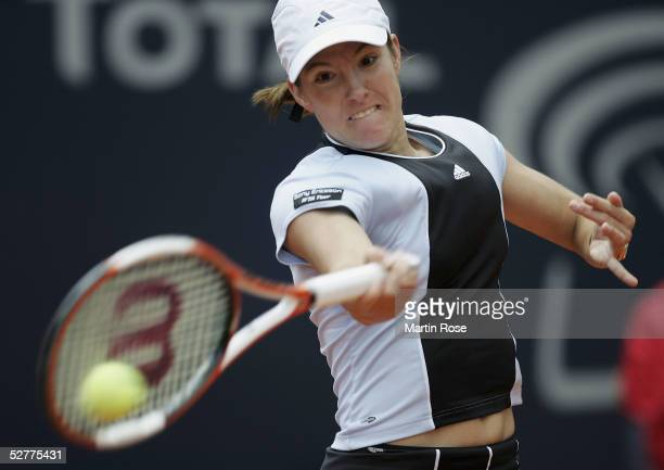 Justine HeninHardenne of Belgium in action during the women's singles final match against Nadia Patrova in the Qatar Total German Open on May 8 2005...