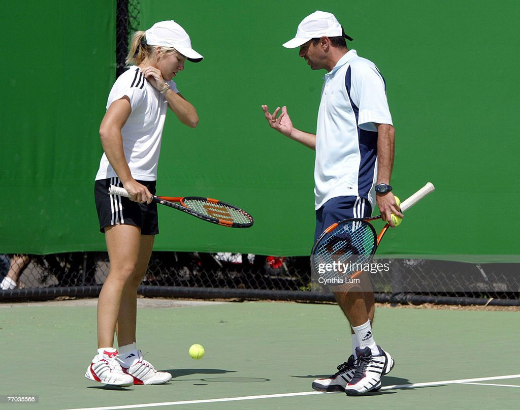 Justine HeninHardenne with coach Carlos Rodriguez on practice court at Australian Open Melbourne January 21 2004