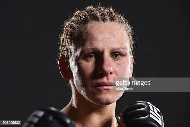 Justine Kish poses for a potrait backstage during the UFC 195 event inside MGM Grand Garden Arena on January 2 2016 in Las Vegas Nevada