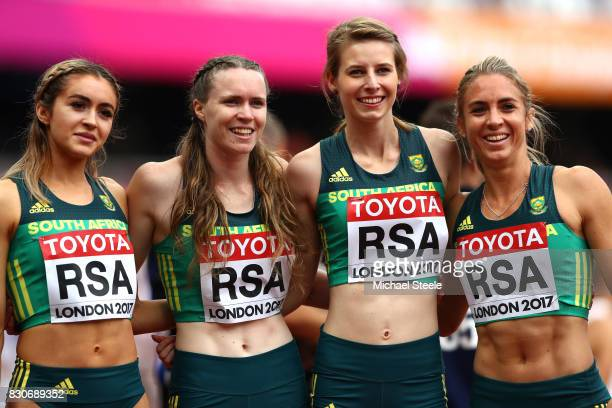 Justine Palframan Gena Lofstrand Ariane Nel and Wenda Nel of South Africa react after compteing in the Women's 4x400 Metres Relay heats during day...