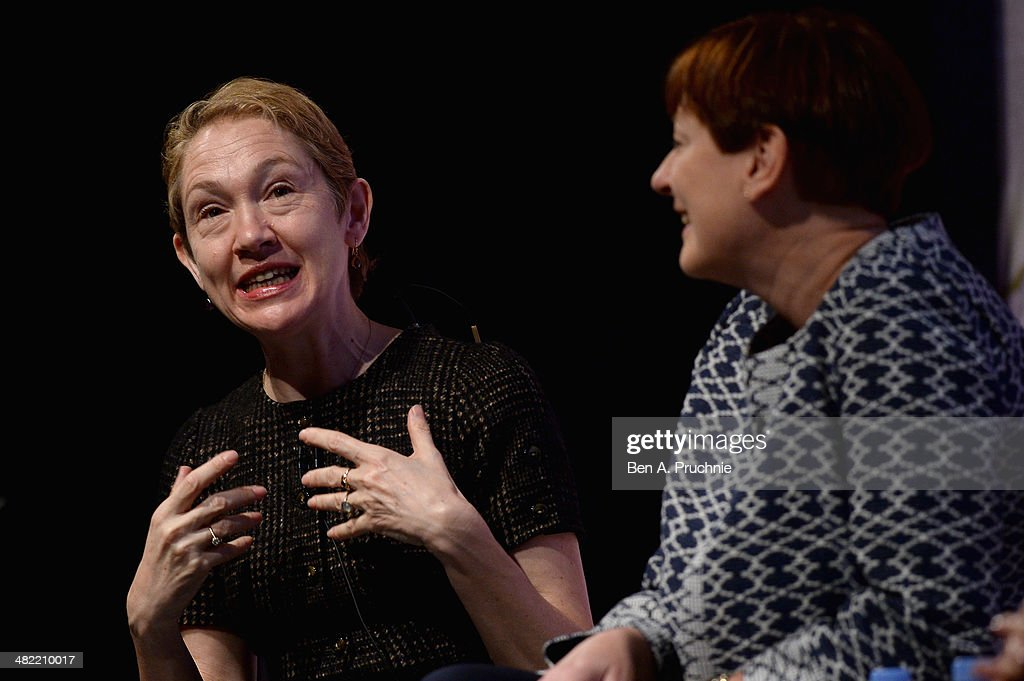 Justine Picardie, Harper's Bazaar, Editor-in-Chief and Lindsay Nicholson, Good Housekeeping, Editorial Director at the Empowering Women in the ITV Stage at Princess Anne during day four of Advertising Week Europe held at BAFTA 195 Piccadilly on April 3, 2014 in London, England.