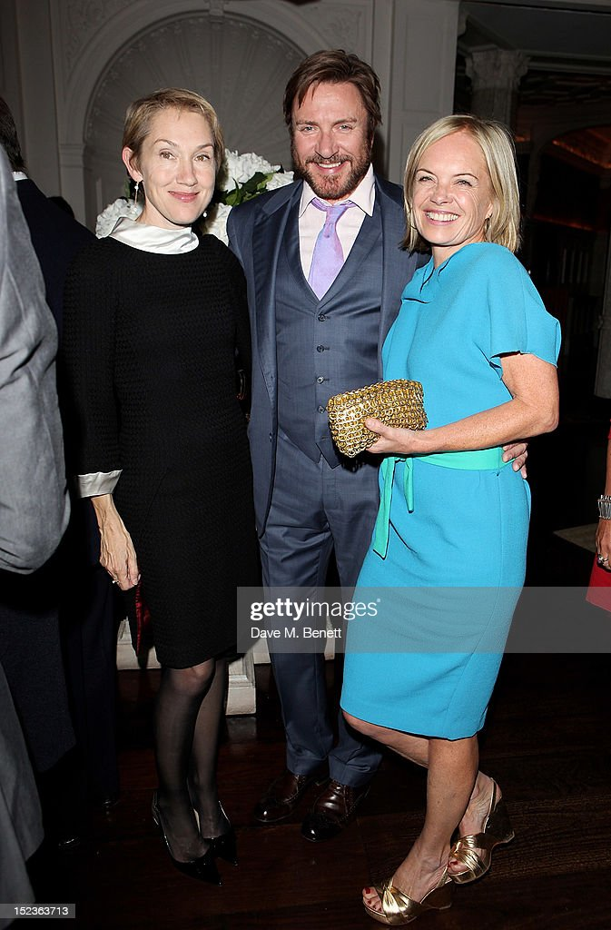 Justine Picardie, <a gi-track='captionPersonalityLinkClicked' href=/galleries/search?phrase=Simon+Le+Bon&family=editorial&specificpeople=160698 ng-click='$event.stopPropagation()'>Simon Le Bon</a> and Mariella Frostrup attend a cocktail party hosted by new Editor-in-Chief of Harper's Bazaar UK Justine Picardie, Manolo Blahnik and Penelope Tree to celebrate the life of noted columnist and fashion editor Diana Vreeland, following the UK premiere of Diana Vreeland: The Eye Has To Travel, at The Connaught Hotel on September 19, 2012 in London, England.