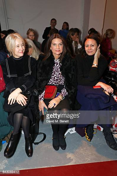 Justine Simons Dame Natalie Massenet and Caroline Rush attend the Roksanda show during the London Fashion Week February 2017 collections on February...