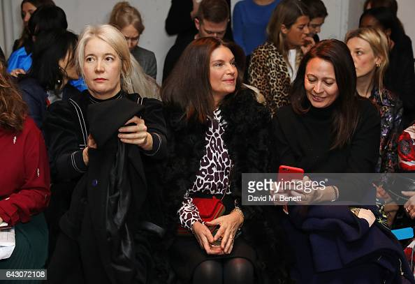Justine Simons Dame Natalie Massenetand Caroline Rush attend the Roksanda show during the London Fashion Week February 2017 collections on February...