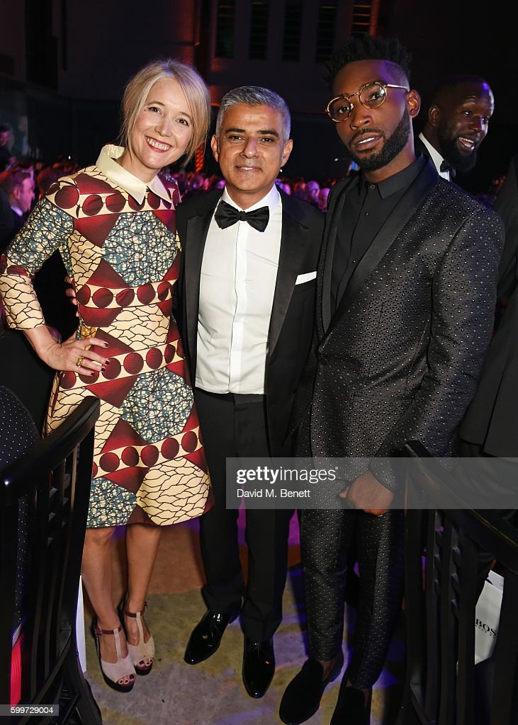 Justine Simons, Mayor of London Sadiq Khan and Tinie Tempah attend the GQ Men Of The Year Awards 2016 at the Tate Modern on September 6, 2016 in London, England.