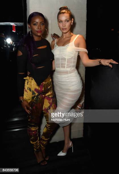 Justine Skye and Bella Hadid attend the Bulgari launch of new fragrance 'Goldea The Roman Night' on September 6 2017 in the Brooklyn borough of New...