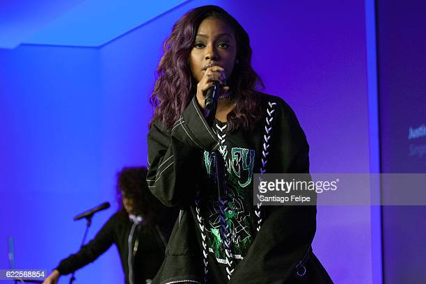Justine Skye and DJ Megan Ryte perform onstage during Apple Store Soho Presents Meet The Musician at Apple Store Soho on November 11 2016 in New York...