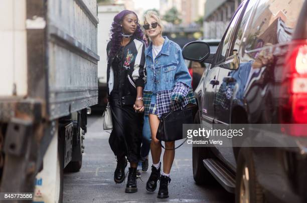 Justine Skye and Hailey Baldwin wearing denim jacket seen in the streets of Manhattan outside Zadig Voltaire during New York Fashion Week on...