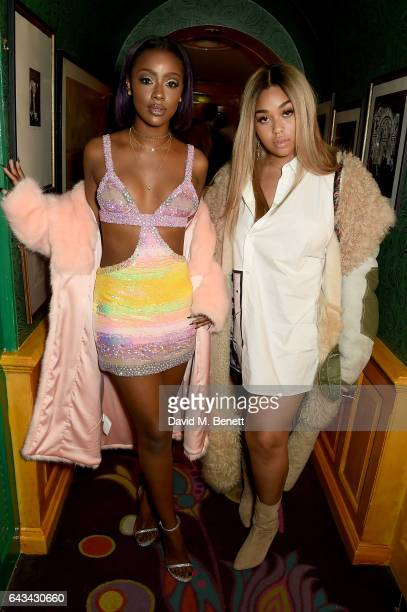 Justine Skye and Jordyn Woods at the LOVE and Burberry London Fashion Week Party at Annabel's celebrating Katie Grand and Kendall Jenner's #LOVEME17...