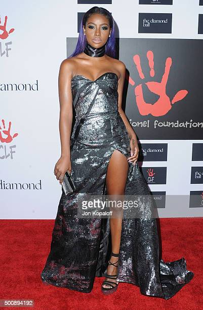 Justine Skye arrives at Rihanna and The Clara Lionel Foundation Host 2nd Annual Diamond Ball at The Barker Hanger on December 10 2015 in Santa Monica...