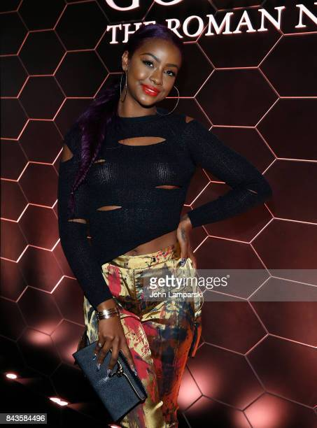 Justine Skye attends Bulgari 'Goldea The Roman Night' fragrance launch party at 1 Hotel Brooklyn Bridge on September 6 2017 in the Brooklyn borough...