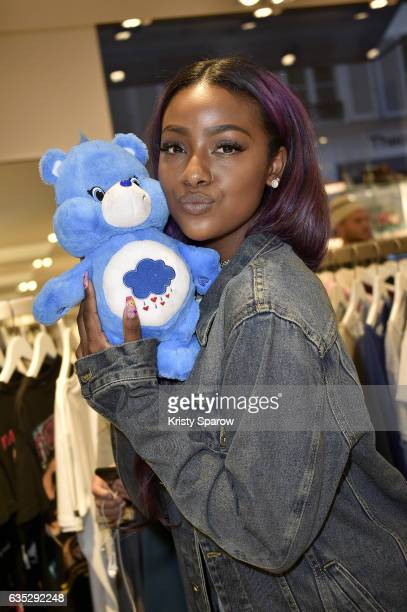 Justine Skye poses during the Boy Meets Girl x Care Bears Collection at Colette on February 14 2017 in Paris France