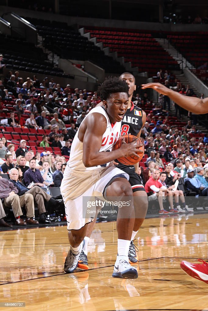 <a gi-track='captionPersonalityLinkClicked' href=/galleries/search?phrase=Justise+Winslow&family=editorial&specificpeople=11268130 ng-click='$event.stopPropagation()'>Justise Winslow</a> #10 of Team USA drives to the basket against the World Team on April 12, 2014 at the Moda Center Arena in Portland, Oregon.
