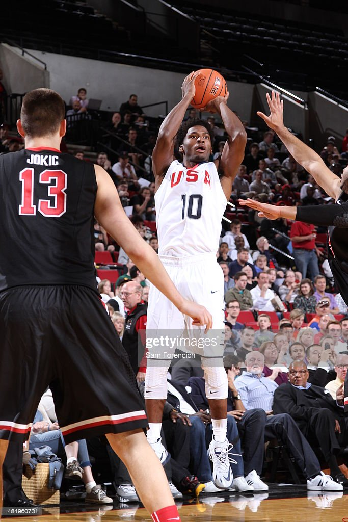 <a gi-track='captionPersonalityLinkClicked' href=/galleries/search?phrase=Justise+Winslow&family=editorial&specificpeople=11268130 ng-click='$event.stopPropagation()'>Justise Winslow</a> #10 of Team USA shoots the ball against the World Team on April 12, 2014 at the Moda Center Arena in Portland, Oregon.