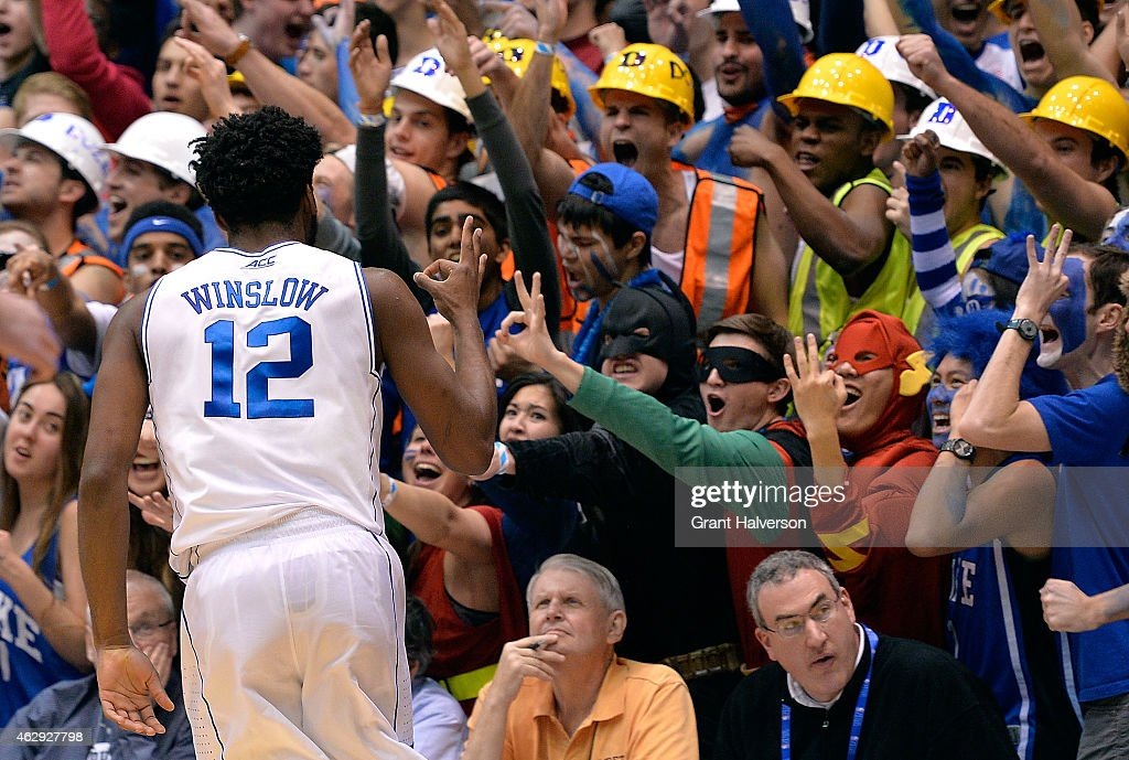 Justise Winslow of the Duke Blue Devils reacts after making a threepoint basket during their game against the Notre Dame Fighting Irish at Cameron...