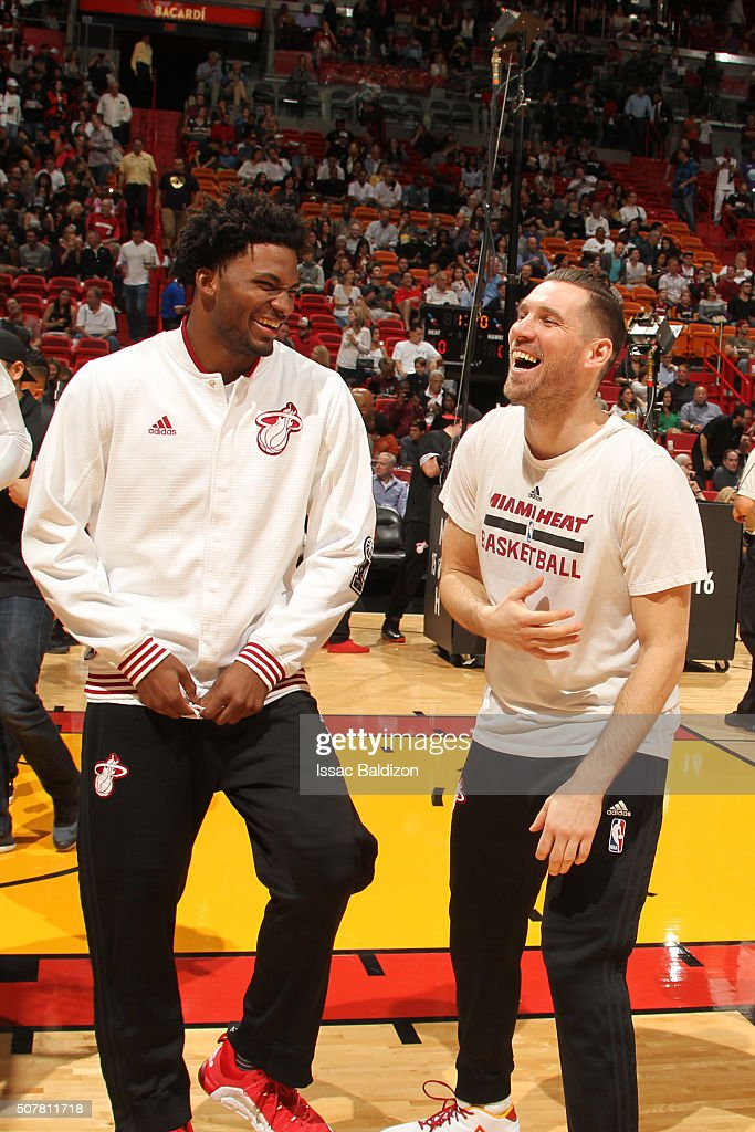 <a gi-track='captionPersonalityLinkClicked' href=/galleries/search?phrase=Justise+Winslow&family=editorial&specificpeople=11268130 ng-click='$event.stopPropagation()'>Justise Winslow</a> #20 of the Miami Heat and <a gi-track='captionPersonalityLinkClicked' href=/galleries/search?phrase=Beno+Udrih&family=editorial&specificpeople=202616 ng-click='$event.stopPropagation()'>Beno Udrih</a> #19 of the Miami Heat laugh before the game against the Atlanta Hawks on January 31, 2016 at American Airlines Arena in Miami, Florida.
