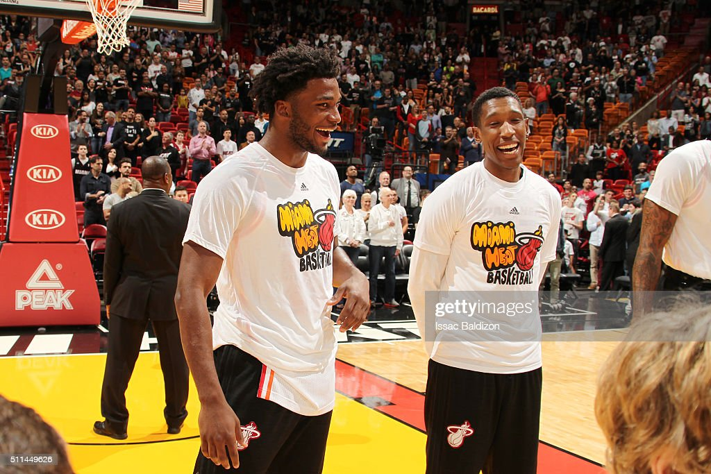Justise Winslow #20 of the Miami Heat and Josh Richardson #0 of the Miami Heat laugh before the game against the Washington Wizards on February 20, 2016 at American Airlines Arena in Miami, Florida.