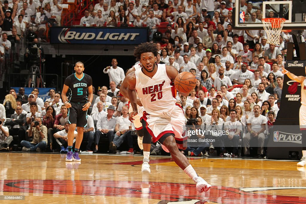 <a gi-track='captionPersonalityLinkClicked' href=/galleries/search?phrase=Justise+Winslow&family=editorial&specificpeople=11268130 ng-click='$event.stopPropagation()'>Justise Winslow</a> #20 of the Miami Heat handles the ball against the Charlotte Hornets in Game Seven of the Eastern Conference Quarterfinals during the 2016 NBA Playoffs on May 1, 2016 at American Airlines Arena in Miami, Florida.