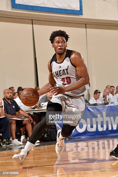 Justise Winslow of the Miami Heat handles the ball against the Detroit Pistons during the 2015 Orlando Pro Summer League game on July 6 2015 at Amway...