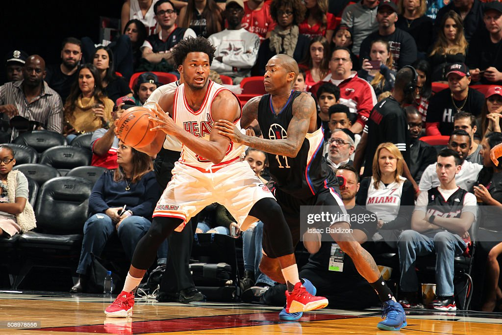 <a gi-track='captionPersonalityLinkClicked' href=/galleries/search?phrase=Justise+Winslow&family=editorial&specificpeople=11268130 ng-click='$event.stopPropagation()'>Justise Winslow</a> #20 of the Miami Heat handles the ball during the game against <a gi-track='captionPersonalityLinkClicked' href=/galleries/search?phrase=Jamal+Crawford&family=editorial&specificpeople=201851 ng-click='$event.stopPropagation()'>Jamal Crawford</a> #11 of the Los Angeles Clippers on February 7, 2016 at AmericanAirlines Arena in Miami, Florida.