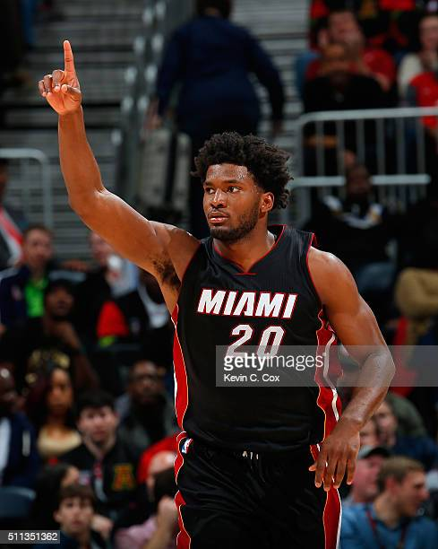 Justise Winslow of the Miami Heat reacts after a basket against the Atlanta Hawks at Philips Arena on February 19 2016 in Atlanta Georgia NOTE TO...