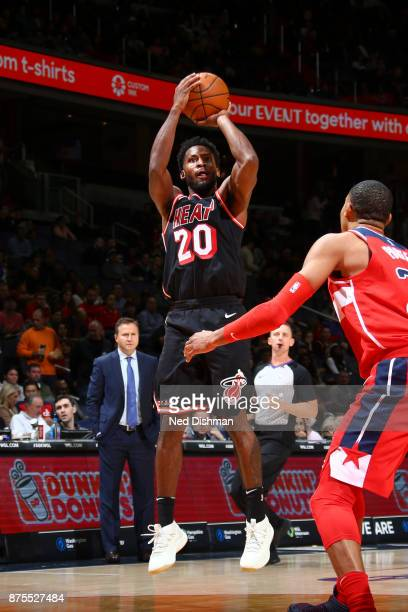 Justise Winslow of the Miami Heat shoots the ball against the Washington Wizards on November 17 2017 at Capital One Arena in Washington DC NOTE TO...