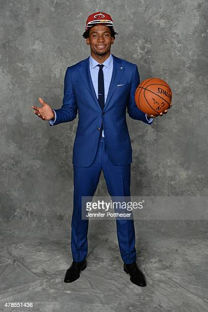 Justise Winslow poses for a portrait after being drafted number ten overall by the Miami Heat during the 2015 NBA Draft at the Barclays Center on...