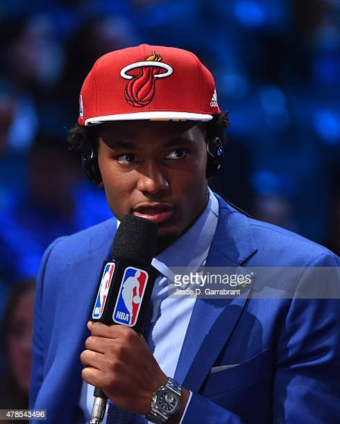 Justise Winslow the 10th pick overall in the 2015 NBA Draft by the Miami Heat speaks to the media during the 2015 NBA Draft at the Barclays Center on...