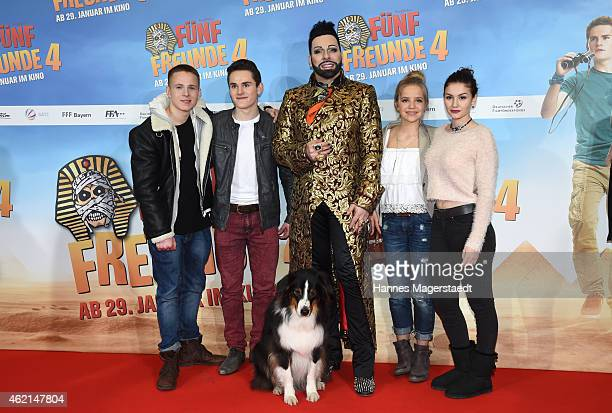 Justus Schliengensiepen Qurin Oettl Harald Gloeoeckler Neele Marie Nickel Valeria Eisenbart and the dog Timmy attend the premiere of the film 'Fuenf...