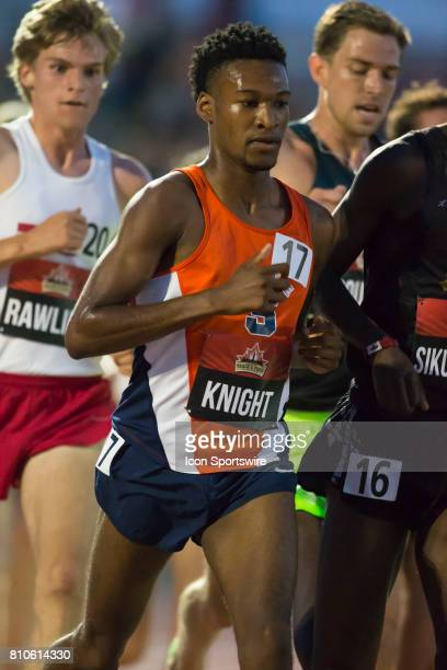Justyn Knight runs tucked into the pack en route to a silver medal in the men's 5000m at the Canadian Track and Field Championships on July 6 2017 at...