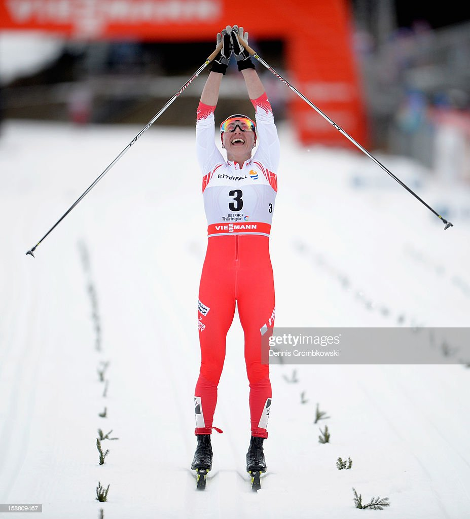Justyna Kowalczyk of Poland celebrates after winning the Women's 9km Classic Pursuit at the FIS Cross Country World Cup event at DKB Ski Arena on December 30, 2012 in Oberhof, Germany.