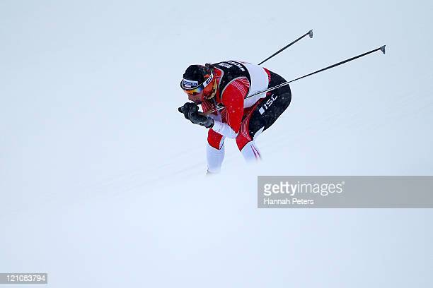 Justyna Kowalczyk of Poland competes in the Cross Country Sprint prologue during day two of the Winter Games NZ at Snow Farm on August 14 2011 in...