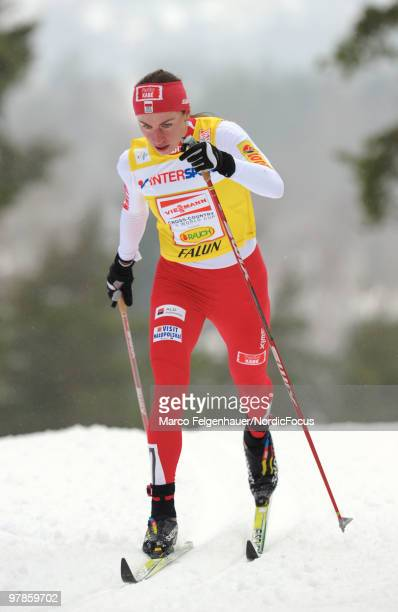 Justyna Kowalczyk of Poland competes in the women's 25 km Cross Country Skiing during the FIS World Cup on March 19 2010 in Falun Sweden