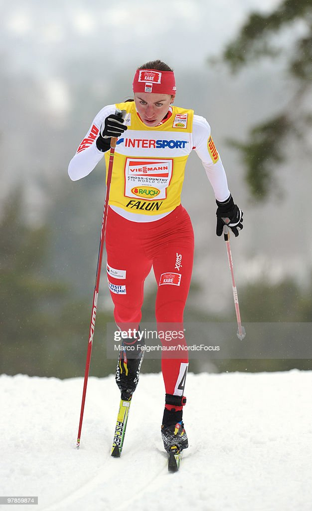 Justyna Kowalczyk of Poland competes in the women's 2,5 km Cross Country Skiing during the FIS World Cup on March 19, 2010 in Falun, Sweden.