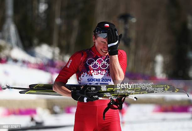 Justyna Kowalczyk of Poland reacts after crossing the finish line during the Ladies' 10km Classic CrossCountry during day six of the Sochi 2014...
