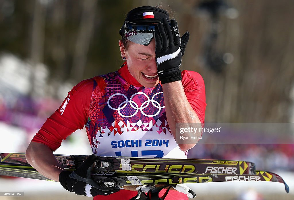 Justyna Kowalczyk of Poland reacts after crossing the finish line during the Ladies' 10km Classic Cross-Country during day six of the Sochi 2014 Winter Olympics at Laura Cross-country Ski & Biathlon Center on February 13, 2014 in Sochi, Russia.